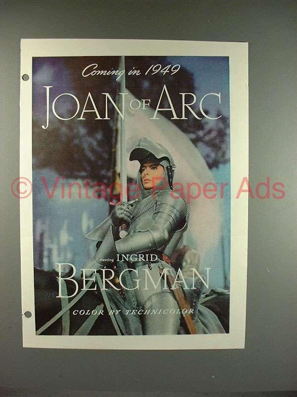 1948 Joan of Arc Movie Ad - Ingrid Bergman!