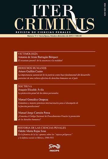 """Con todo mi agradecimiento al Dr. Alberto Nava por su gran apoyo. Les comparto que la Revista de Ciencias Penales ITER CRIMINIS del INACIPE ha publicado mi articulo titulado """"LA PROTECCIÓN PE…"""