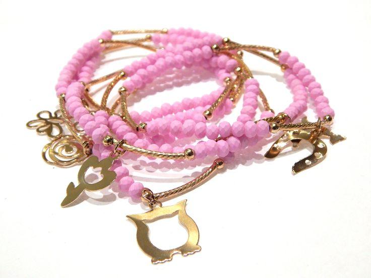 Pulseras semanario, 7 pulseras con caucho neon color rosa, 4 mm, tubo diamantado, $120.00. Precio especial a mayoristas.