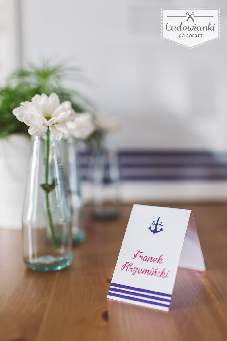 Anchor wedding place card.   Winietka ślubna z kotwicą.