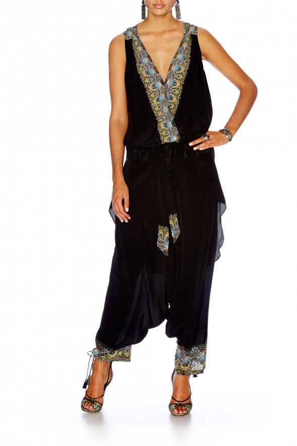 Camilla Franks Black cross front top with long back AND black harem pants