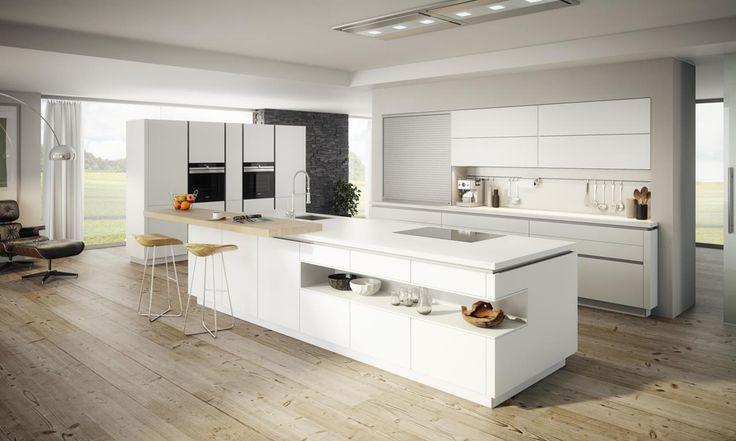 ewe vida moderne küche mit kochinsel weiß hochglanz | küchen, Kuchen