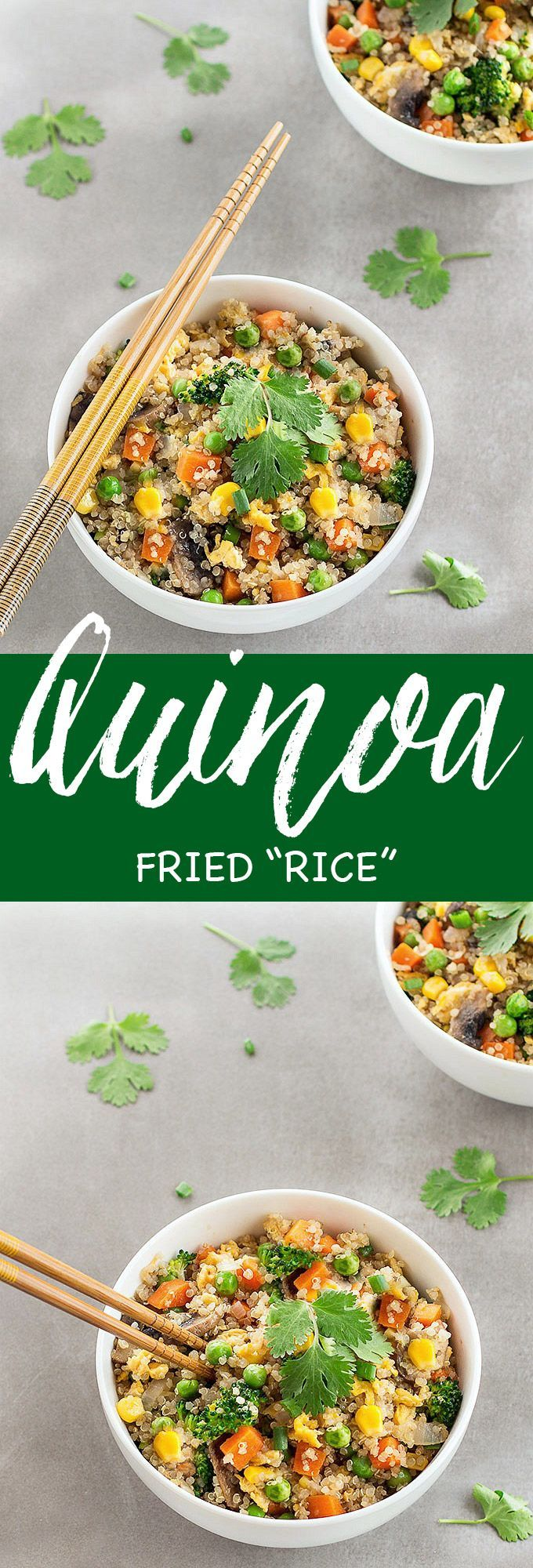 """This quinoa fried """"rice"""" is a quick, simple and healthy alternative to traditional fried rice. The recipe comes together in 30 minutes and even less if you have pre-cooked your quinoa."""
