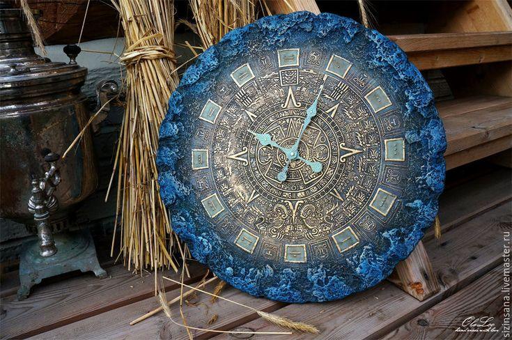 Купить Светящиеся часы 55 см Майянское золото - тёмно-синий, настенные часы
