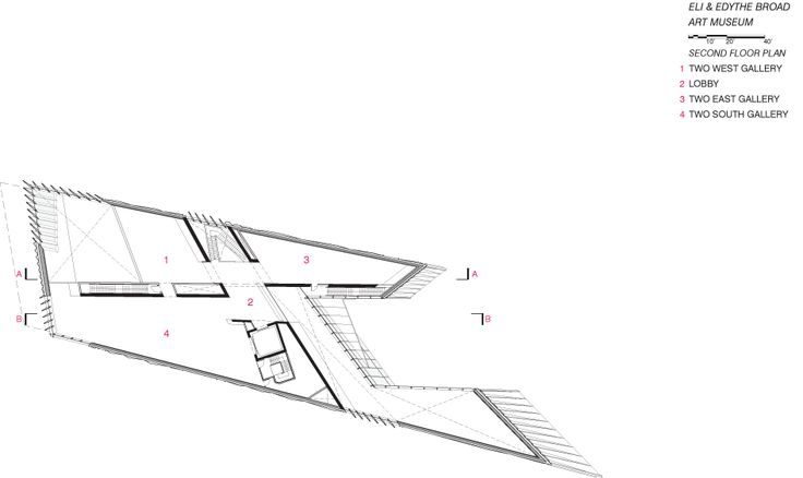 First Floor Plan. Eli and Edythe Broad Art Museum, Michigan State University | Zaha Hadid