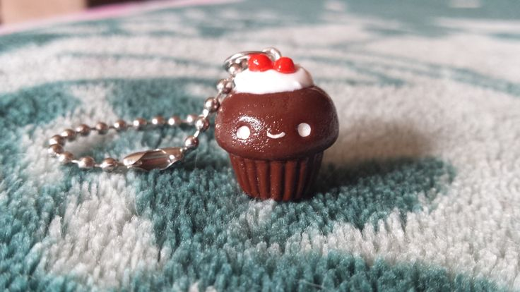 Chocolate cherry cupcake polymer clay charm by ProjectPinkPanda on Etsy