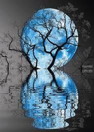 """Blue Moon Reflection On Water. [""""Other Worlds"""" - fictional landscapes crafted from real-earth photographs. Get inspired! http://matthewbrennan.net - short stories, blog, translation, editing.]"""