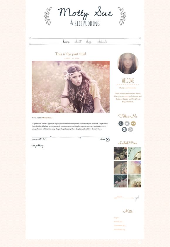 Molly Sue - Chic WordPress Theme by Mlekoshi Playground on Creative Market