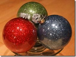 Make glitter ornaments with Pledge Floor Care - made these at MOPS