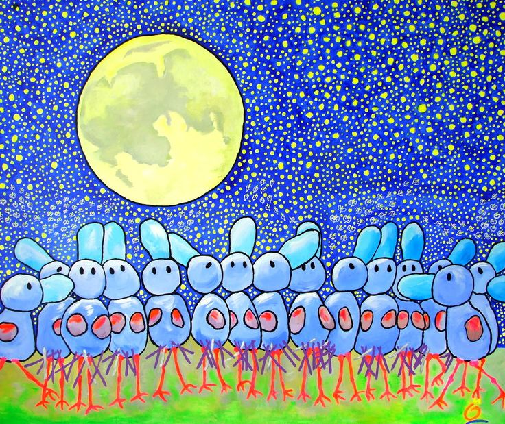"""""""POINTS OF VIEW"""". 47.2-39.4 Inch (120-100 cm)  Acrylic on Heavy Cotton. #painting, #moon, #stars, #starrysky. #color. For info e-mail: jos@nosybirds.com"""