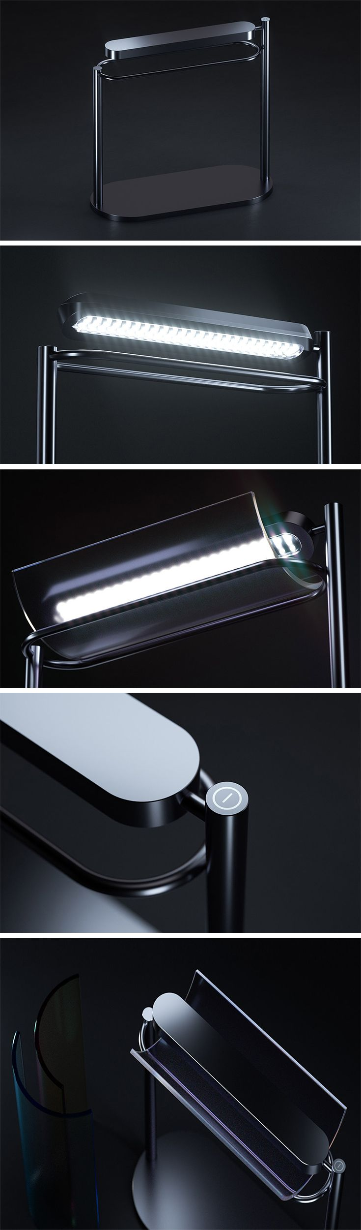 This modern desk lamp by Sungick Jo combines a monochromatic exterior with multi-hued functionality. Elevated by two pillars, it will illuminate your desk or draft table with bright working light. With interchangeable glass filters and a RGB LED, users can adjust the tone to their liking or mood with an almost infinite number of color and brightness settings.