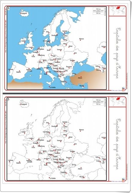 """Recursos didácticos para imprimir, ver, leer: """"Capitales de Europa"""" (Librairie-interactive.com)"""