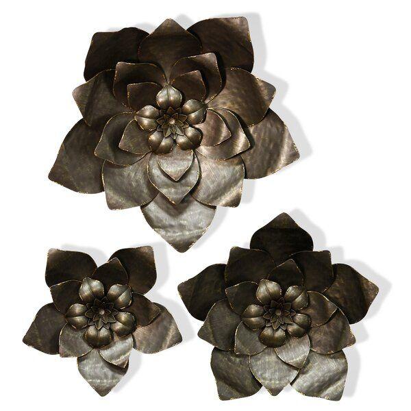 3 Piece Flower Power Hammered Blooms Metal Art Wall Decor Set Metal Flower Wall Art Recycled Metal Art Metal Art