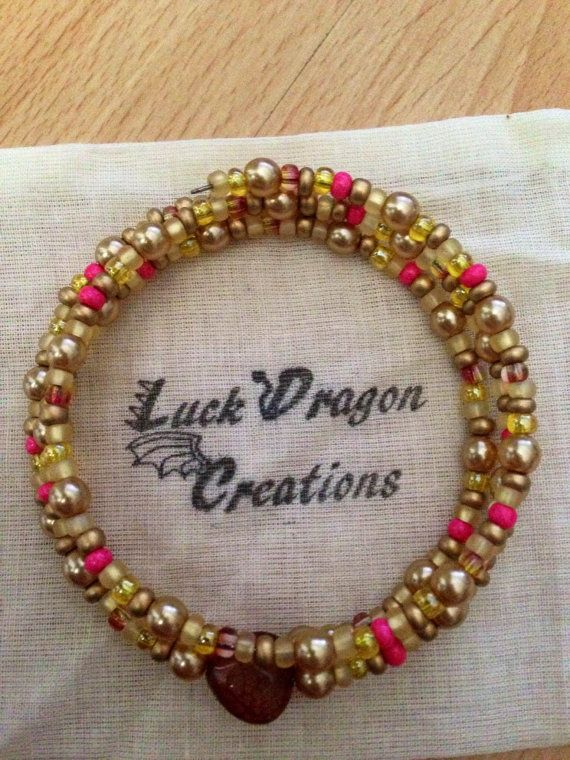 Diva Gold and Pink Memory Wire Bracelet by LuckDragonCreations