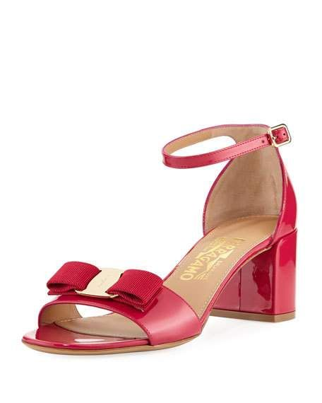 9f69130450f5 Get free shipping on Salvatore Ferragamo Gavina Patent Leather Vara Bow  Sandal at Neiman Marcus. Shop the latest luxury fashions from top designers.