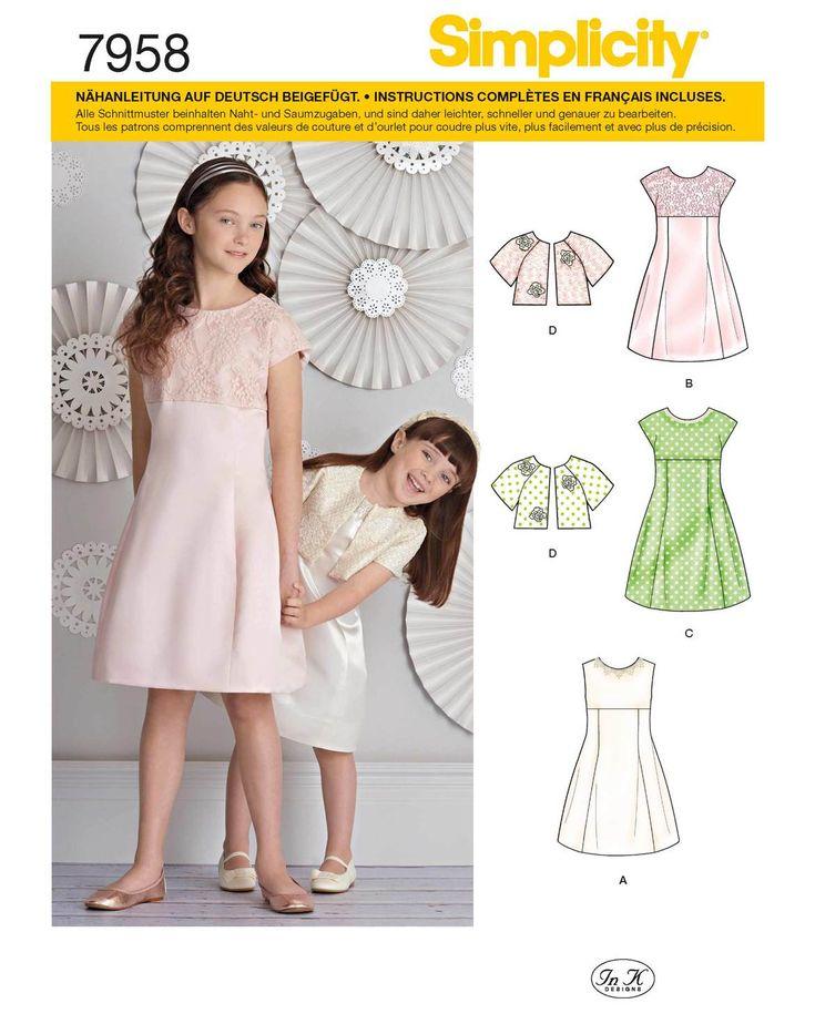 Festliche Kleider für Mädchen mit passendem Bolero. Enthalten sind die US-Kinder Größen 7-14, was etwa den Größen 127 - 155 entspricht.