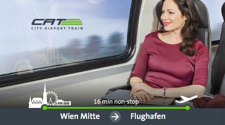 Vienna City Air Terminal. Bequeme und schnelle Flughafentransfer von CAT City Airport Train. Mit City Check-in und nur 16 Minuten Transferzeit zwischen Wien-Mitte und Flughafen Wien Schwechat, die komfortable Art zu reisen.