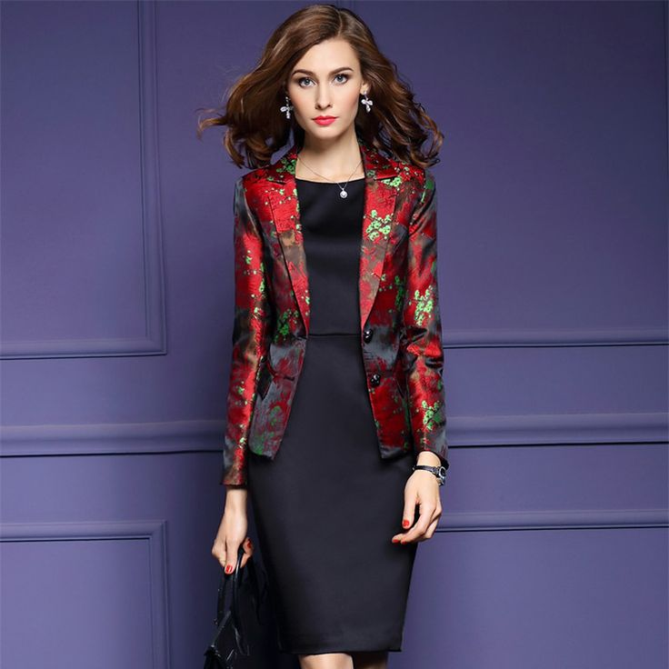 2016 Europe Fashion Basic Jacket Blazer Womens Long Sleeve Slim Fit Red Print Suit Women Plus Size 3XL Blazers And Jackets-in Blazers from Women's Clothing & Accessories on Aliexpress.com | Alibaba Group