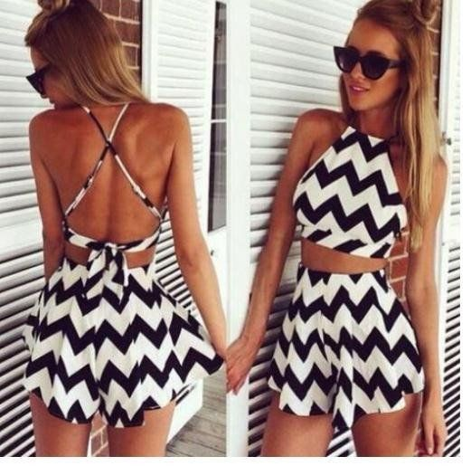 CUTE BLACK AND WHITE TWO PIECE ROMPER