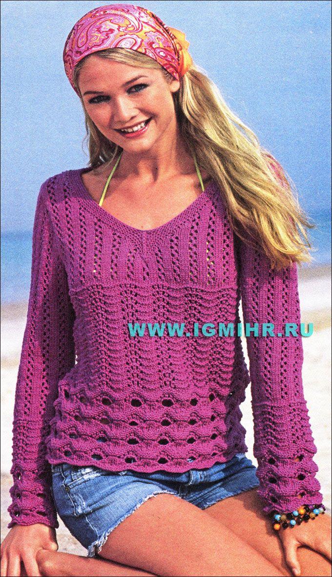 пуловер из акриловой пряжи