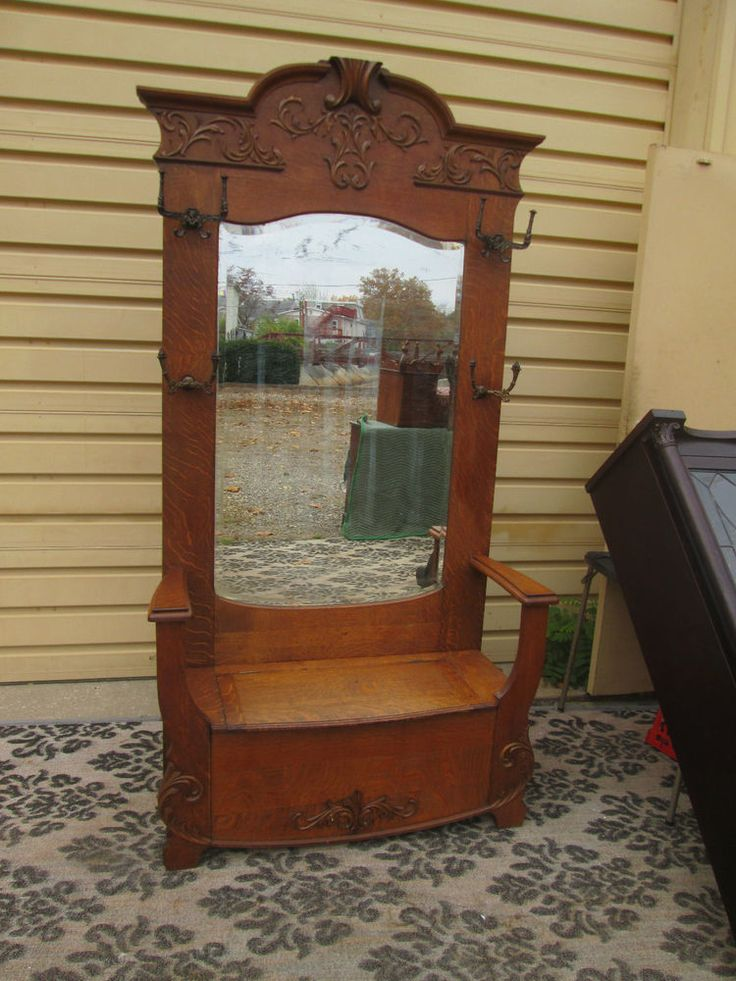 Antique Hat Rack With Mirror And Bench Best 2000
