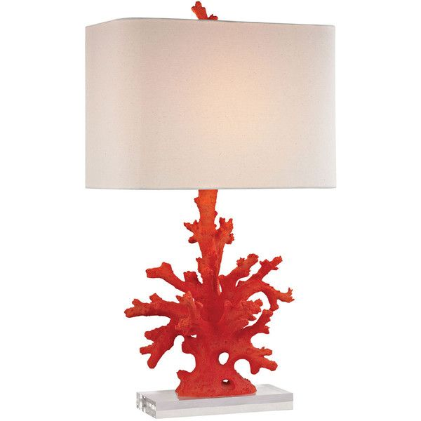 Red Coral Table Lamp ($312) ❤ liked on Polyvore featuring home, lighting, table lamps, table lamp, coral colored table lamps, coral lighting, branch lamp, tree branch lights and colored lights