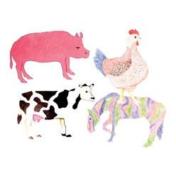 Roylco Farm Animal Fingerpaint Paper (horse, cow, pig, chicken)