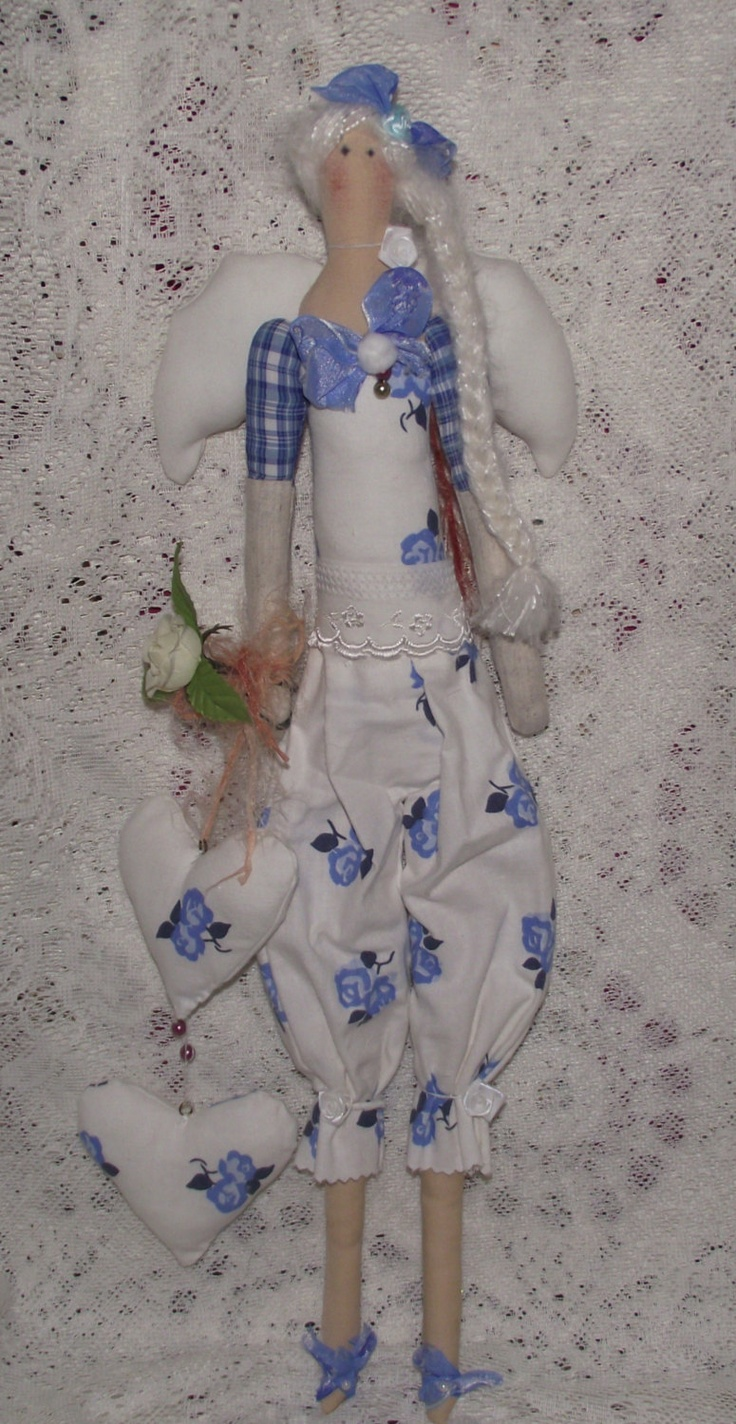 Handmade Tilda fabric angel doll blue rose♡
