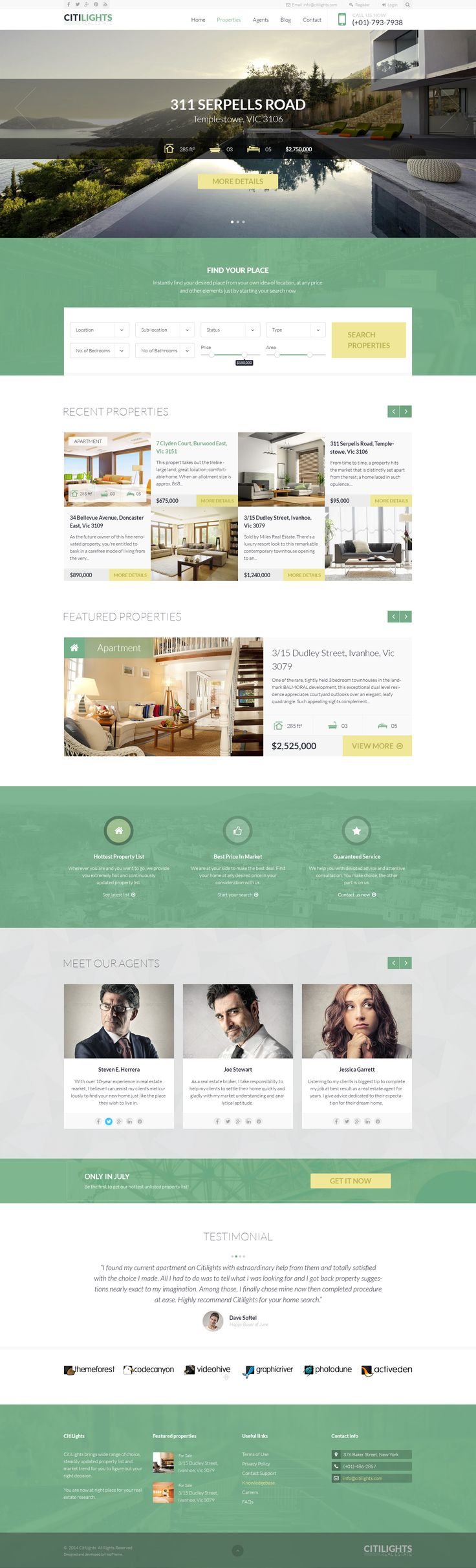 Citilights is a theme dedicately crafted for Real Estate, Estate Agent and Estate Agency websites.. Using 12 column grid system, with smart layout and clean design, this theme will certainly bring an elegant and professional look to your Real Estate site. http://themeforest.net/item/citilights-real-estate-psd-template/8488256?ref=nootheme #realestatetemplate #realestatetheme
