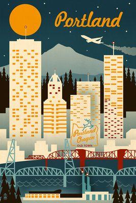 Portland, Oregon - Retro Skyline - Lantern Press Poster