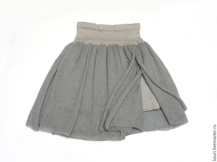 """Купить Юбка-пачка женская """"Лондонский туман""""( вязаная спицами) - серый, однотонный, туман, юбка"""