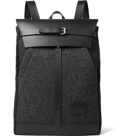 Atelier de L'Armée - Leather-Trimmed Mélange Wool and Canvas Backpack
