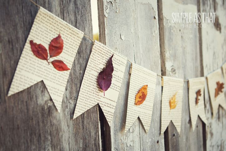 simple as that: Family Crafting: Fun with Fall Leaves-leaf bunting penants