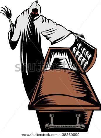 Grim reaper with open casket  #grimreaper #woodcut #illustration