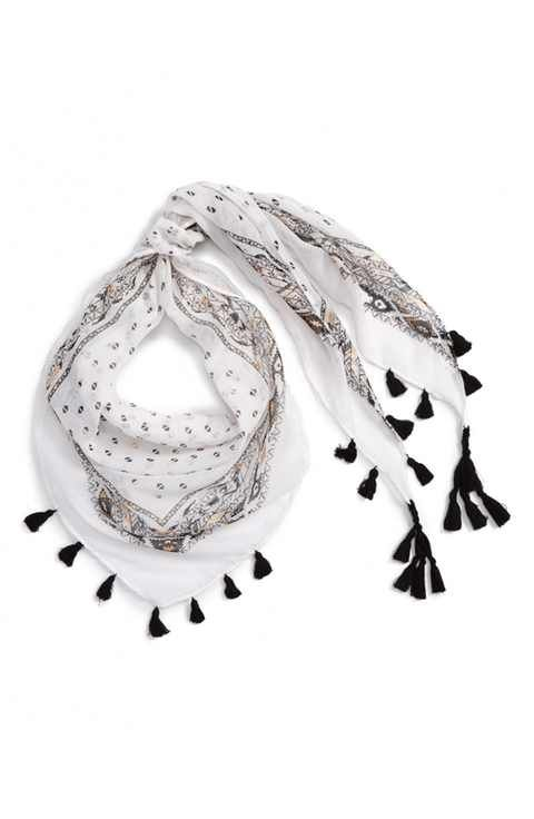 Capelli of New York Metallic Triangle Scarf with Tassels (Girls)