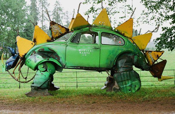 Volkswagen Stegosaurus from the Beautiful Days festival in Devon.