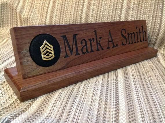 Custom Military Desk Nameplate 15 Inch Solid Walnut Wood Name Plate Personalized Name Plate Available With Or Without Rank Pad Name Plate Solid Walnut Walnut Wood