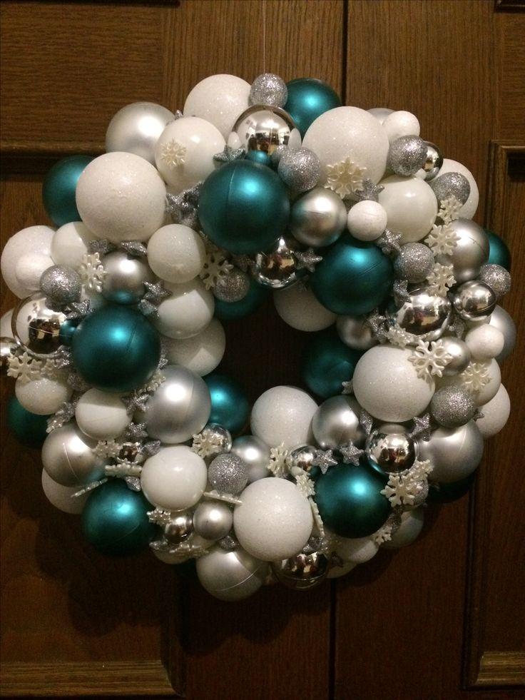 Türkranz Weihnachten Weihnachtskugeln Weiß  Silber Türkis