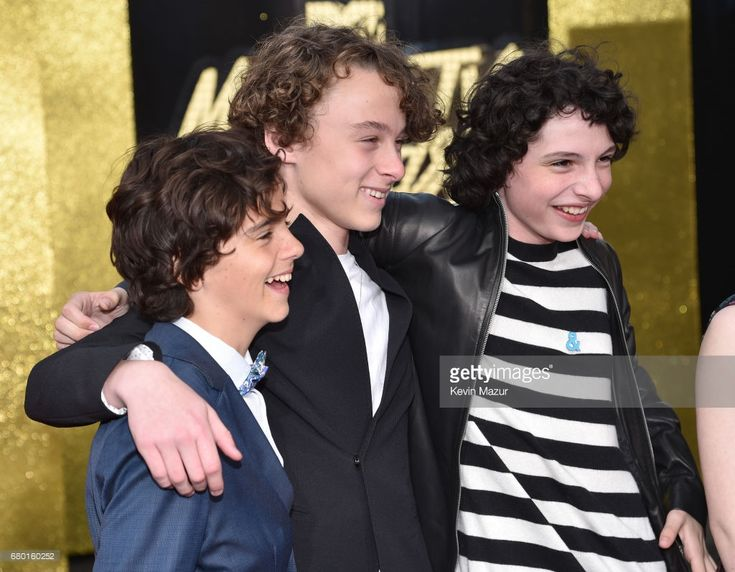 Actors Jack Dylan Grazer, Wyatt Oleff and Finn Wolfhard attend the 2017 MTV Movie And TV Awards at The Shrine Auditorium on May 7, 2017 in Los Angeles, California.