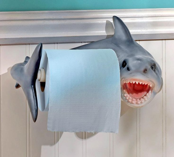 You've seen the dog butt toilet paper dispenser, but what about a shark?! This shark bite toilet roll holder looks like it's about to bite your hand off if you were to grab a few squares of toilet pap...