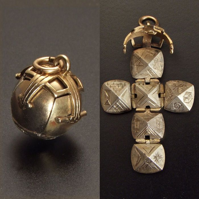 Online veilinghuis Catawiki: Zeldzaam 9 karaats uitklapbaar gouden horlogeketting (fob chain) met Vrijmetselaars / Maçonieke symbolen