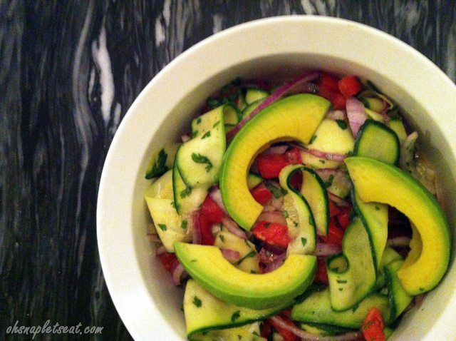 Zucchini Ribbon Salad with Avocado - made this last night and it is amazingly simple and tastes wonderful!