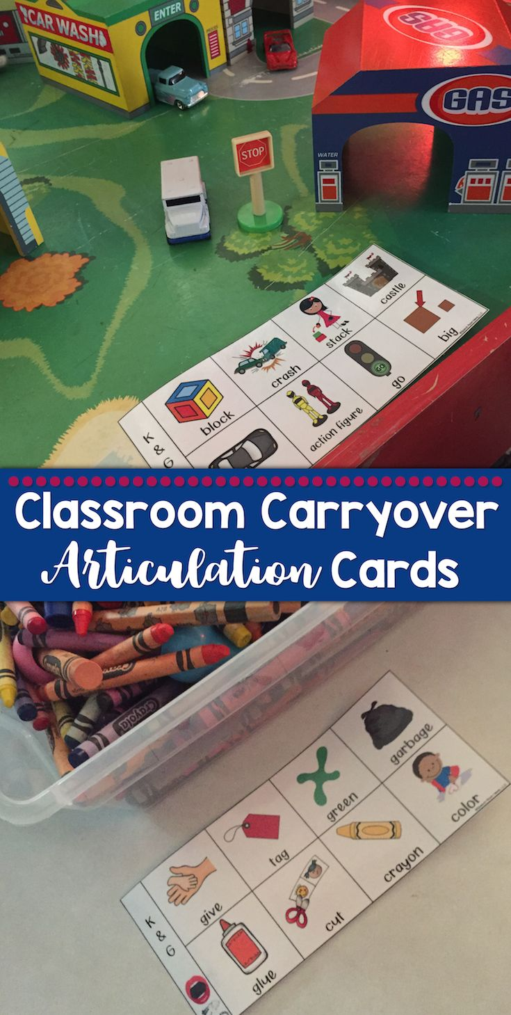 Classroom Carryover Articulation Cards: I make and use these articulation sheets to post in the classroom. These sheets can be laminated and hung on the wall. I use a dry erase marker and write the initials of each child working on that sound. This allow the teacher or paraprofessional to easy target these common words while in that play-area.