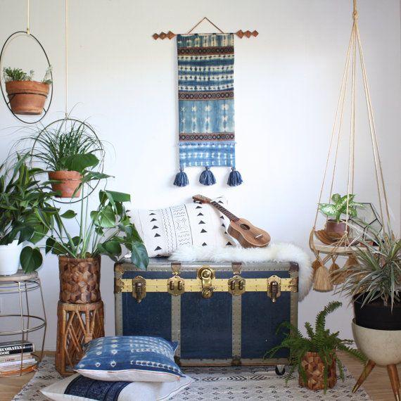 Indigo Mudcloth Wallhanging, Tapestry Wall Decor, Textile Wall Art, Bohemian  Wall Tapestries,