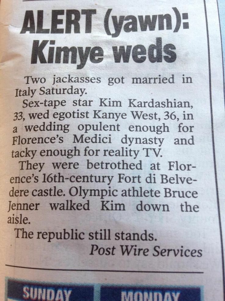 New York Post's Kim Kardashian-Kanye West Wedding Story Is A Thing Of Beauty (Photo)