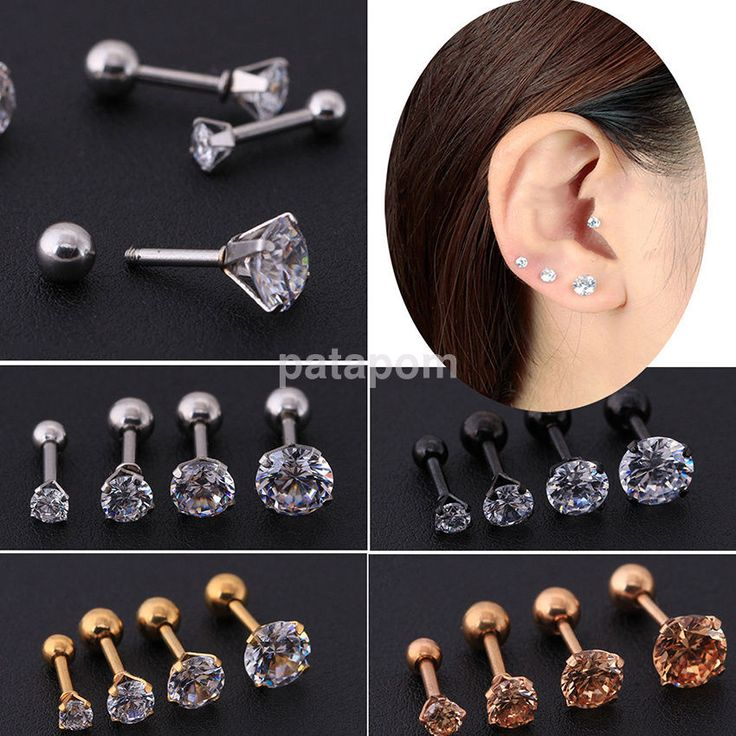 Details about 2 Pcs CZ 6 Prong Tragus Cartilage Stainless Steel Stud Earrings Piercing Steady
