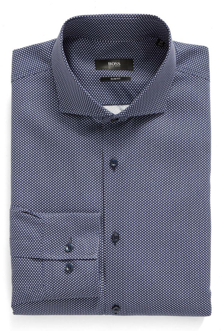 Geometric Slim Fit Dress Shirt