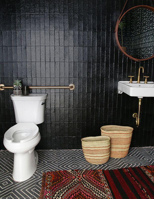 Best 25+ Black Bathrooms Ideas On Pinterest | Black Powder Room, Hexagon  Tile Bathroom And Bathroom Layout