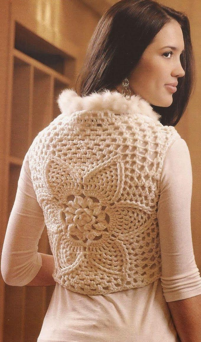 Patrones Crochet: Chaleco Flor Cuello de Pompones Patron
