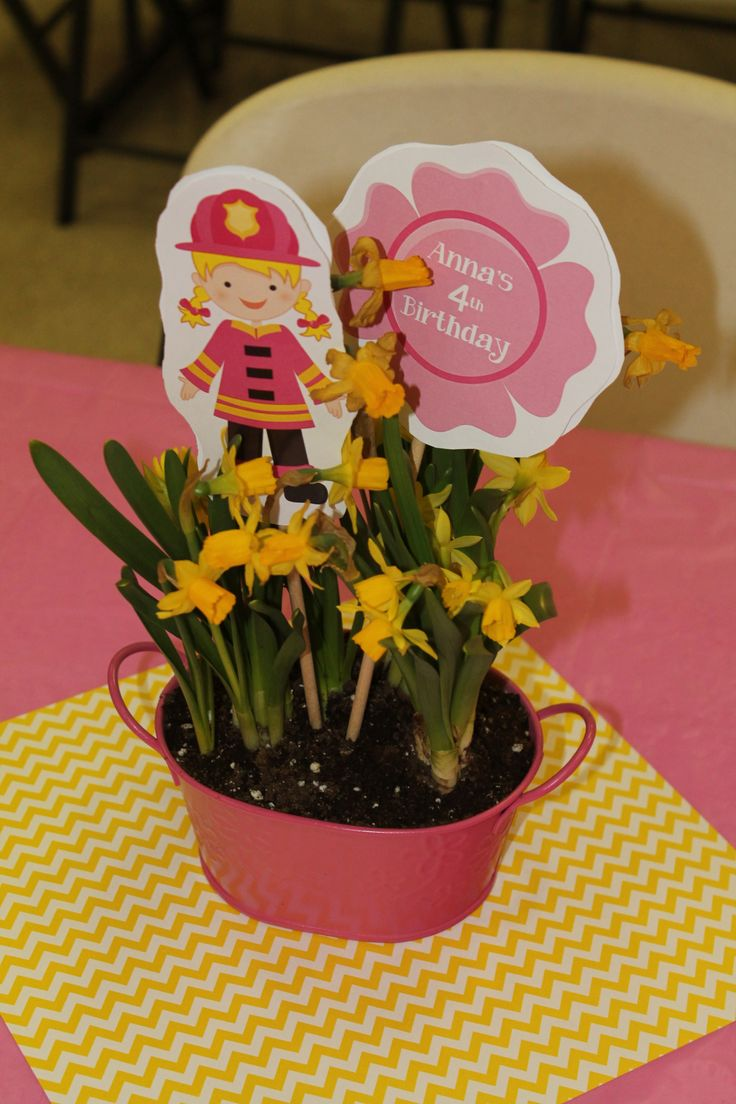 10 best girly pink fire truck birthday party images on pinterest pink girl fire truck firefighter birthday party flowerdaffodil centerpiece dhlflorist Image collections